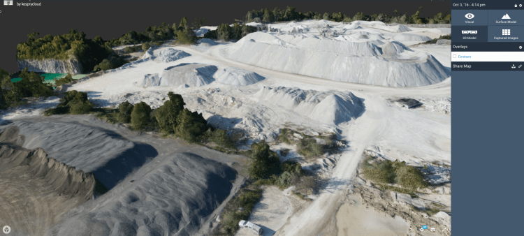 Kespry 3D Model Stockpiles and Pit Wall