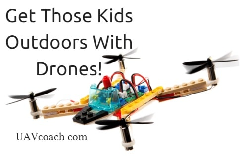 kids outside with drones