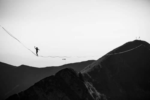 Highline Au Moléson En Noir Et Blanc