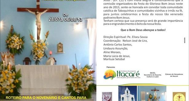 Confira Programação completa da Festa do Glorioso Bom Jesus em Taboquinhas.