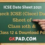 ICSE Date Sheet 2021