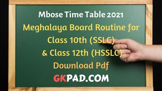 Mbose Routine 2021