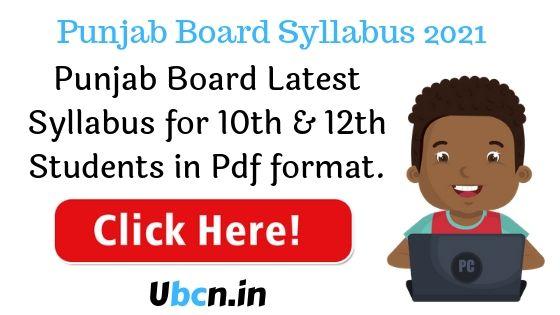 Punjab Board Syllabus 2021