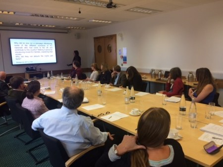 Alexandra presenting at the roundtable event, British Library
