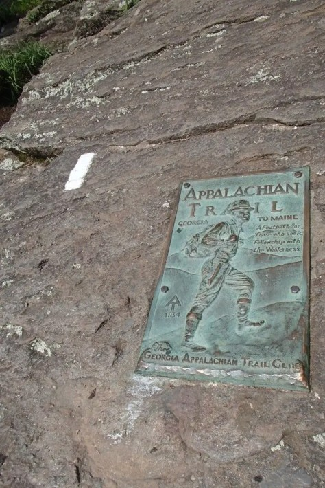 Southern Terminus of the Appalachian Trail and the first blaze north.