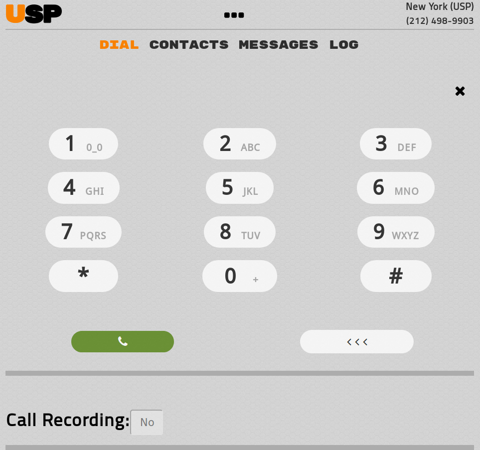 The USP Dialer - Dial Tab for making outbound calls.