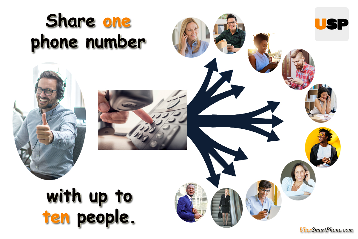 Share 1 number with up to 10 people.