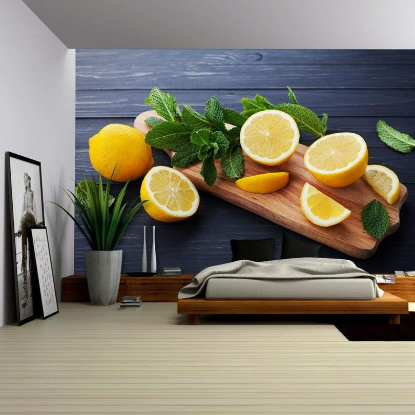 Lemon and Mint Leaves Removable Wall Mural – Self-adhesive Large Wallpaper