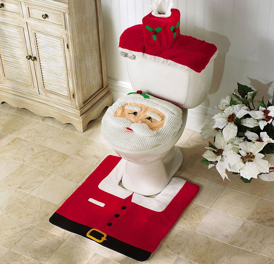 Santa Toilet Cover And Rug Set With Integrated Tissue Box Holder