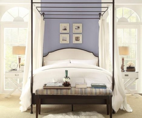 Inspire Q Andover Cream Linen Curved adboard Crry Brown Canopy Poster Bed by Classic King