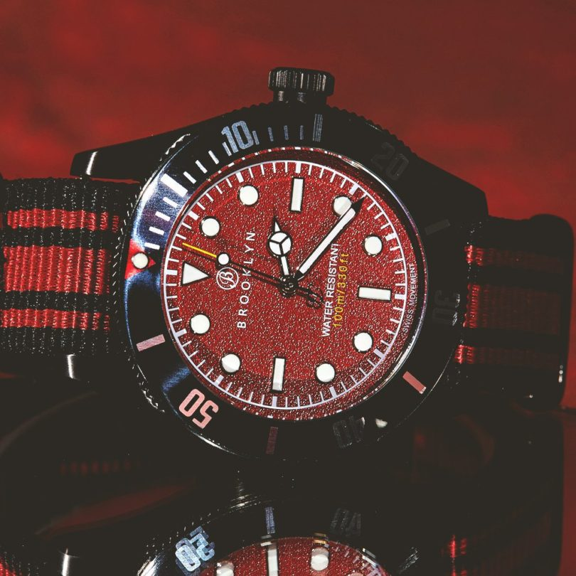 Brooklyn Watch Co. Black Eyed Pea Red Dial Watch