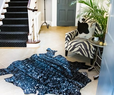 Black & Silver Natural Cowhide Rug