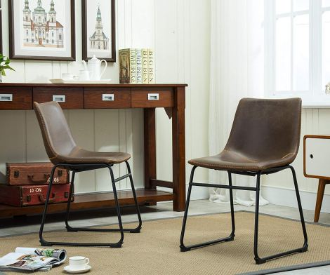 Roundhill Furniture Leather Dining Chairs