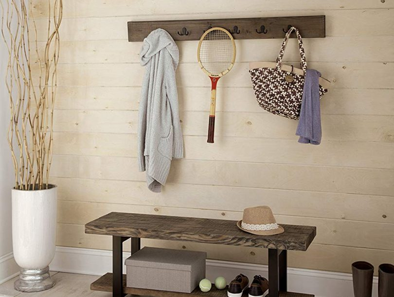 Alaterre AZAMBA032920 Sonoma 48″ Metal and Reclaimed Wood Storage Coat Hook with Bench