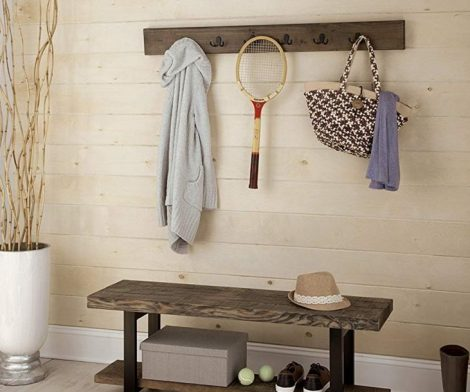 Metal and Reclaimed Wood Storage Coat Hook