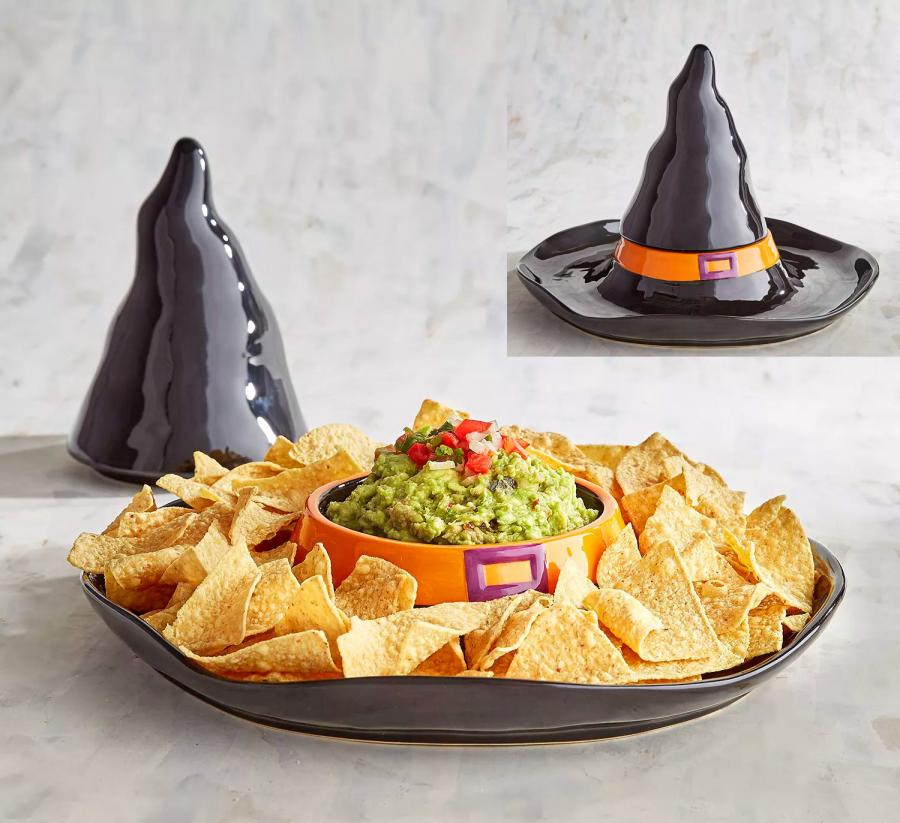 Witch Hat Halloween Chip and Dip Serving Tray