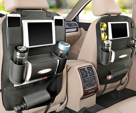 Backseat Car Organizer Holds Tablets, Drinks, Tissues, and More