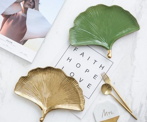 Gold Trim Ginkgo Leaf Tray