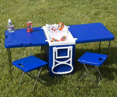 Cooler With Fold-out Table and Chairs