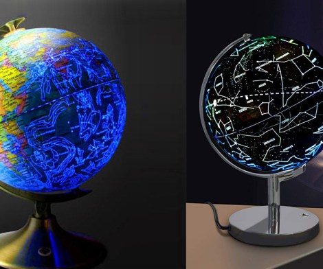 Celestial Globe Lamp Shows Earth During Day, Constellations At Night