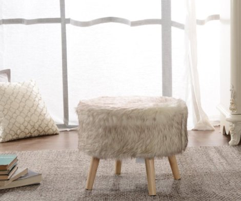 Faux Fur Wood Leg Stool