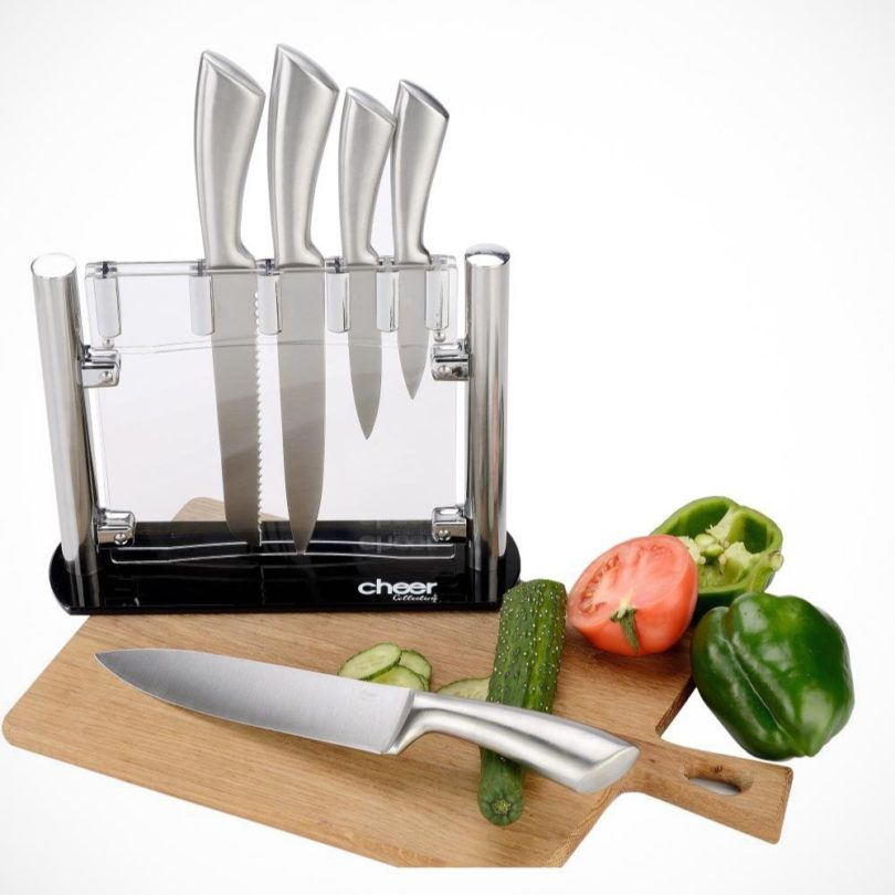 Stainless Steel Kitchen Knife Set with Acrylic Stand