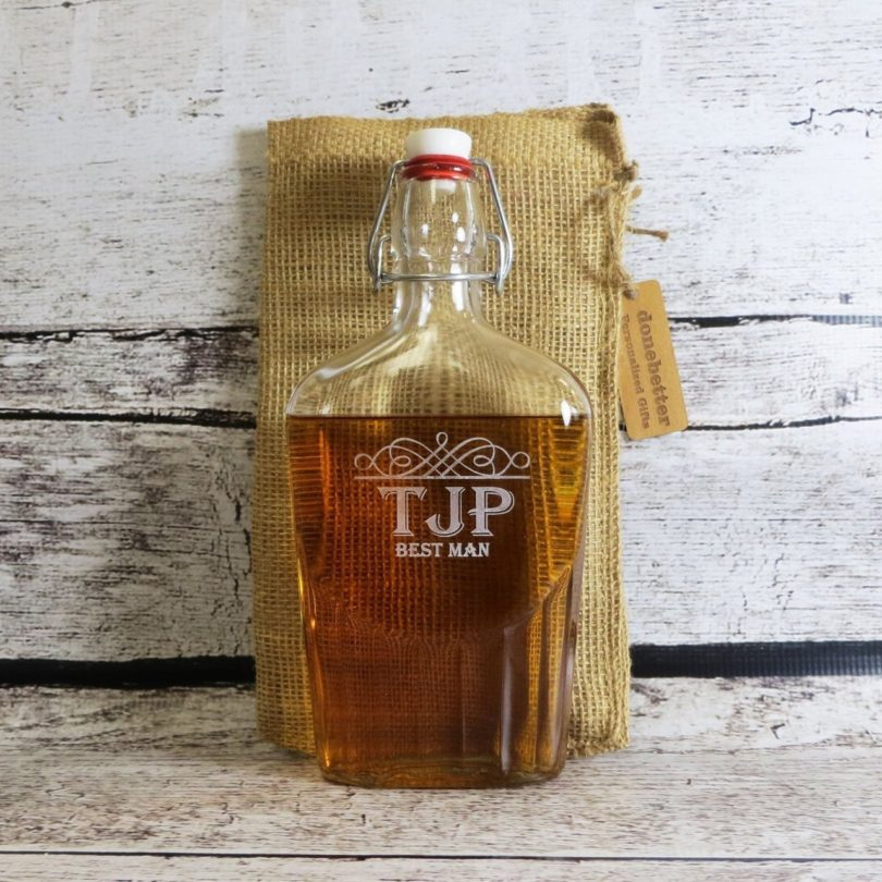 Vintage Glass Flask Personalized