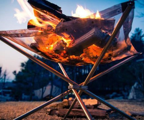 Rootless Portable Collapsing Steel Mesh Fire Pit