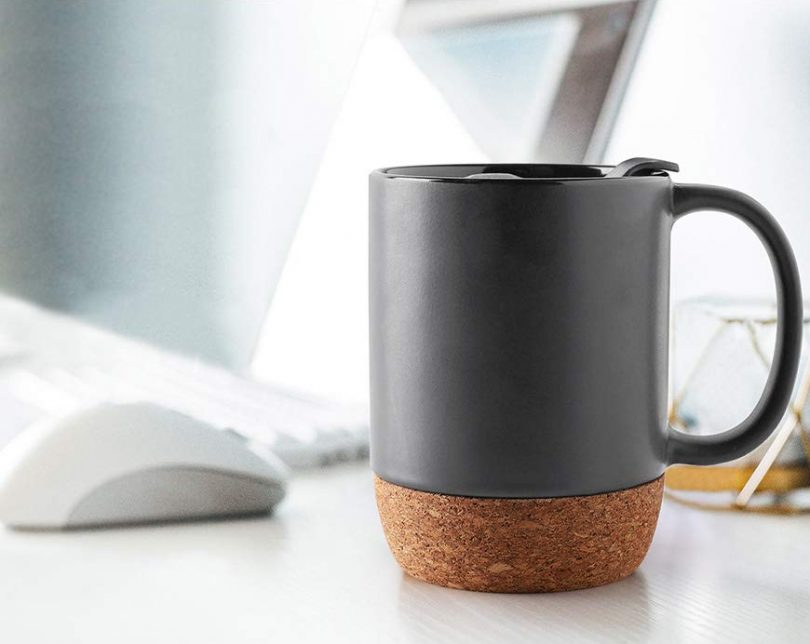 Ceramic Coffee Mug with Insulated Cork and Mug Lid