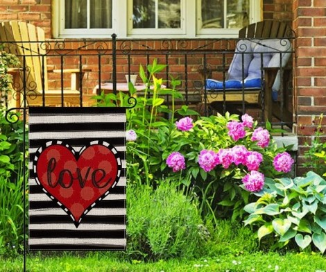 Love Heart Valentine Garden Flag