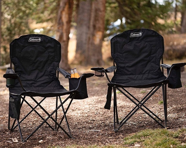 Portable Camping Quad Chair with Built-in Cooler
