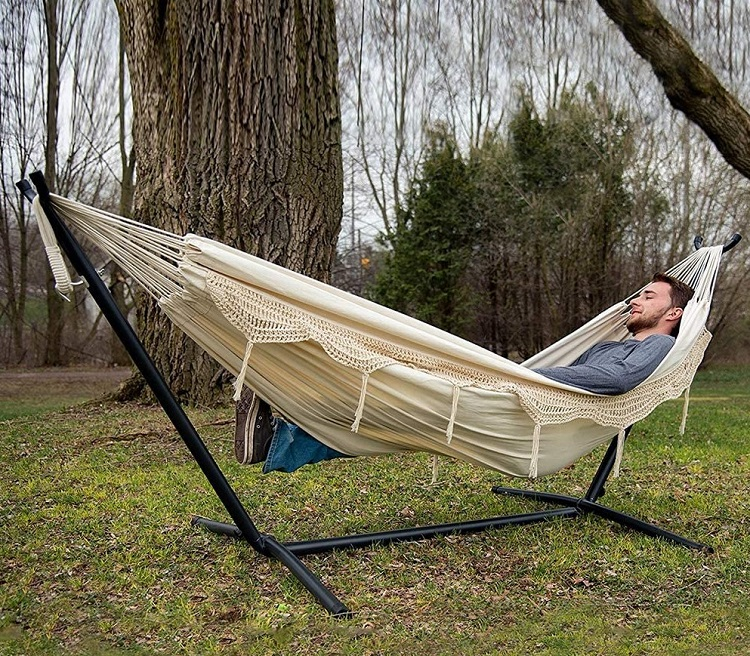 Vivere Combo: Double Hammock with Space-Saving Steel Stand