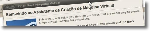 Janela Inicial de criação de maquinas virtuais