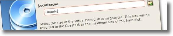 A definir nome do disco virtual e o seu tamanho