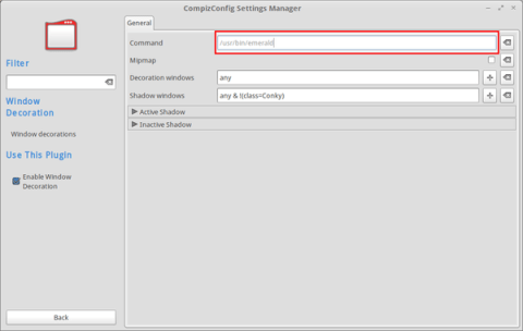 CompizConfig Settings Manager - change parameter window decorator