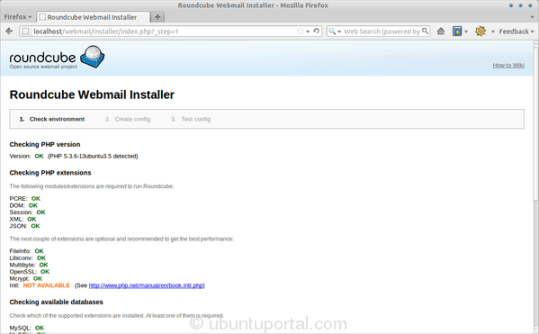 Roundcube Webmail Installer - step 1