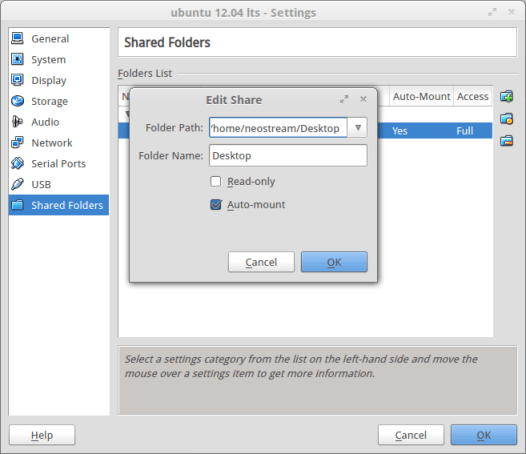 Share folder ubuntu 12.04- virtual box