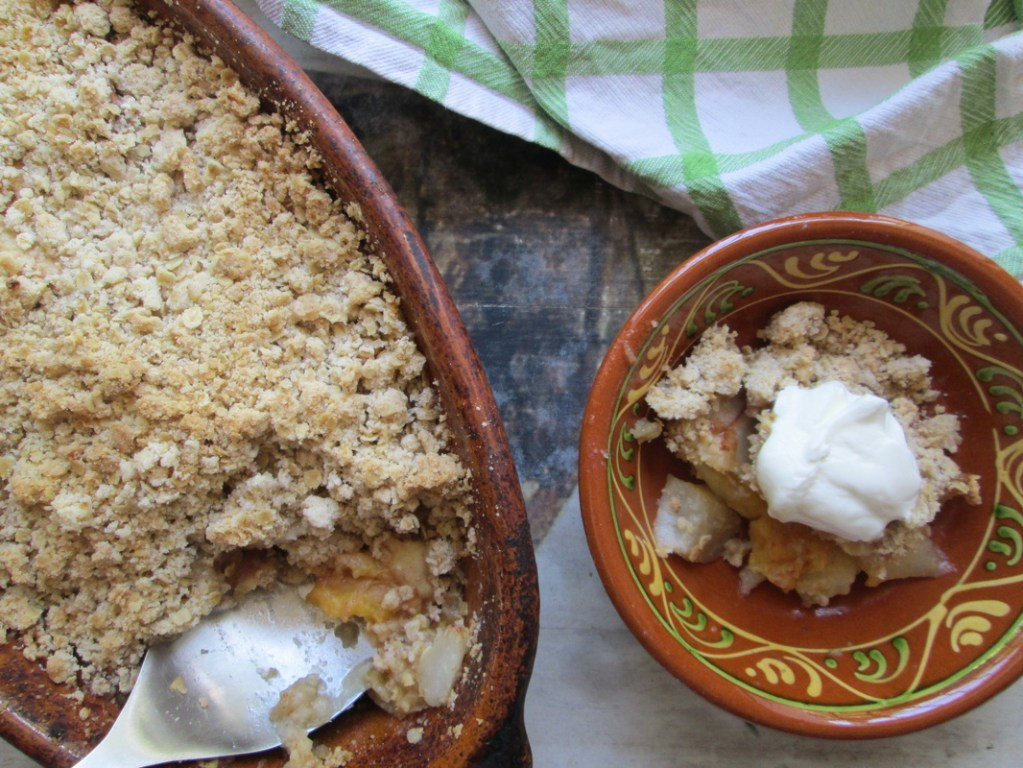 over head view of Pear and Apricot Crisp