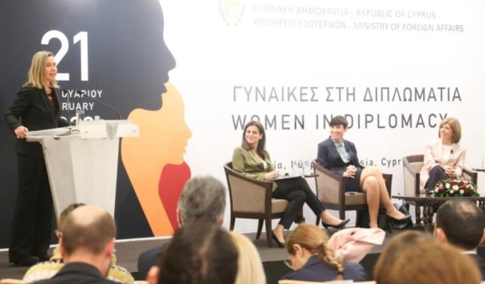 Former top EU diplomat Federica Mogherini, Norwegian Foreign Minister and Cypriot women with leadership positions, where among the speakers of an event organized by the Cypriot Ministry of Foreign Affairs to mark the 25th anniversary of the Benjing declaration for women rights.