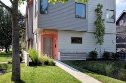 view of exterior entrance to contemporary townhome