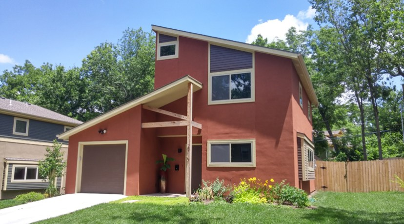 View of two story contemporary home in Longfellow neighborhood.