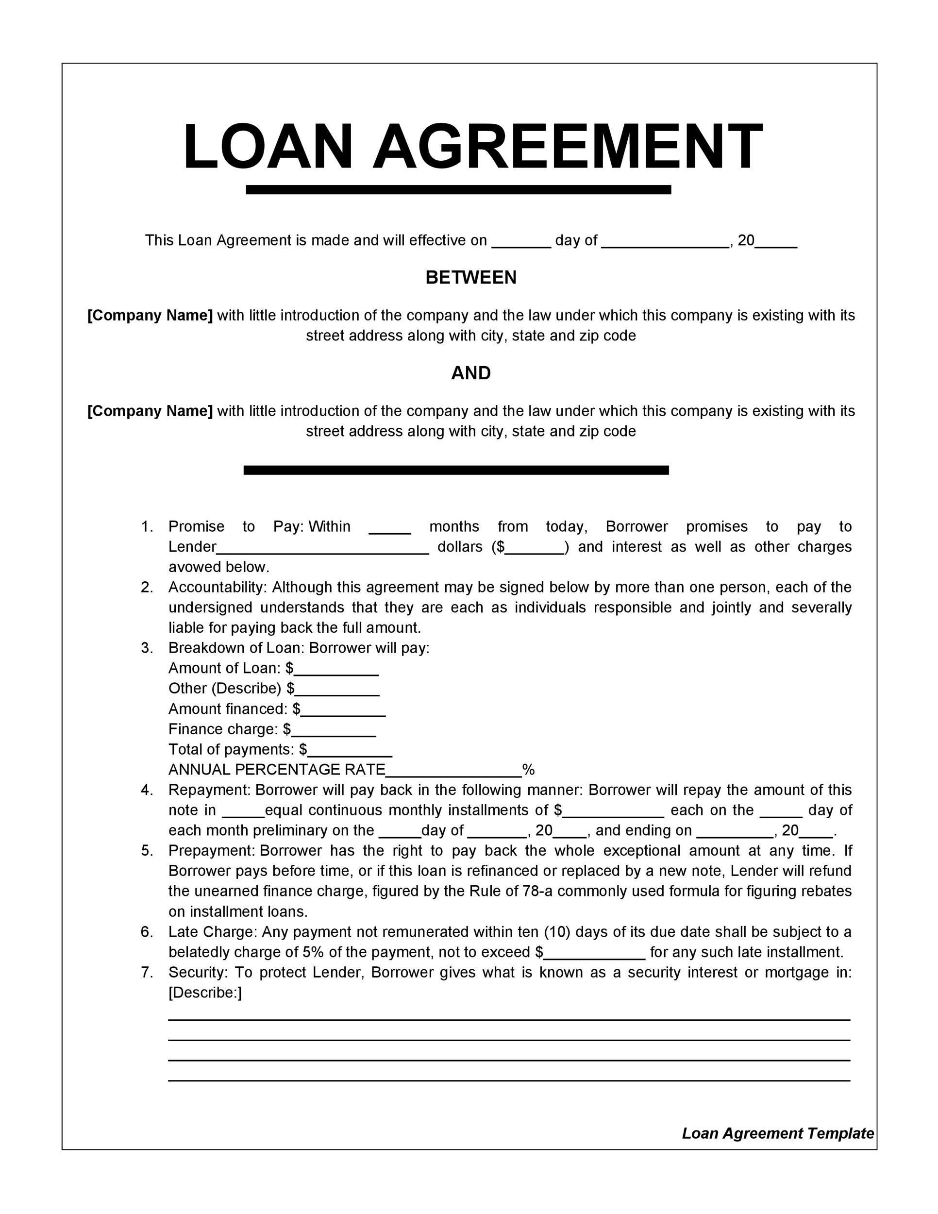 A loan agreement is a document between a borrower and lender that details a loan repayment schedule. Loan Agreement Example
