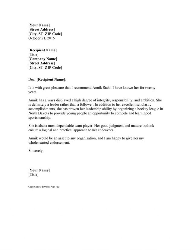 Personal Reference Letter Examples