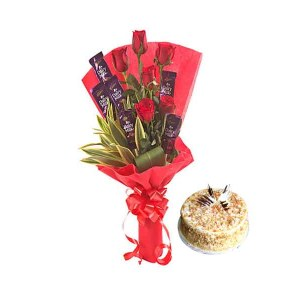 Roses with Chocolates Hand Bunch & Cake