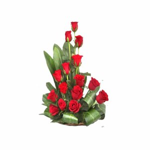 15 Red Roses Basket Arrangement