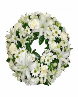 Mix White Flowers Wreath Arrangement