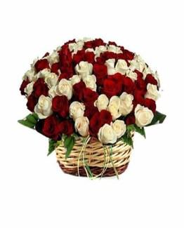Red & White Roses Basket arrangement