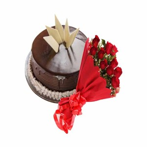 12 Red Roses & 1 Pound Chocolate truffle cake