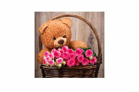 Pink Roses in Basket arragement with Teddy