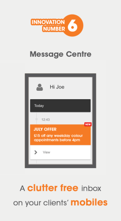 Visual showing the Message Centre on salon mobile apps provided by gappt